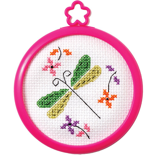 "My 1st Stitch Dragonfly Mini Counted Cross Stitch Kit, 3"" Round, 14-Count"