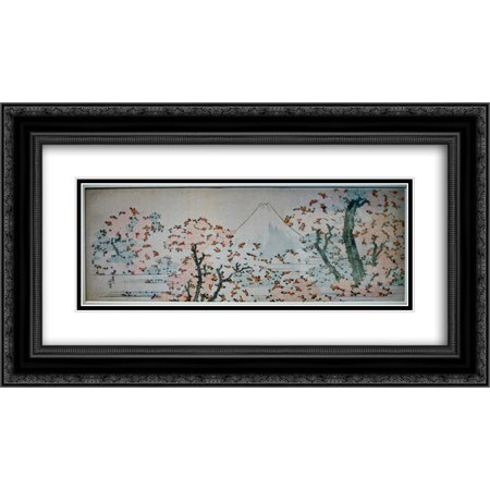 Katsushika Hokusai 2x Matted 24x14 Black Ornate Framed Art Print