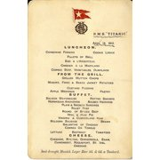 RMS Titanic Menu for 14th April 1912 Stretched Canvas -  (24 x 36)
