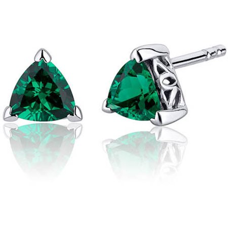 1.50 Carat T.G.W. Trillion-Cut V-Prong Simulated Emerald Rhodium over Sterling Silver Stud Earrings