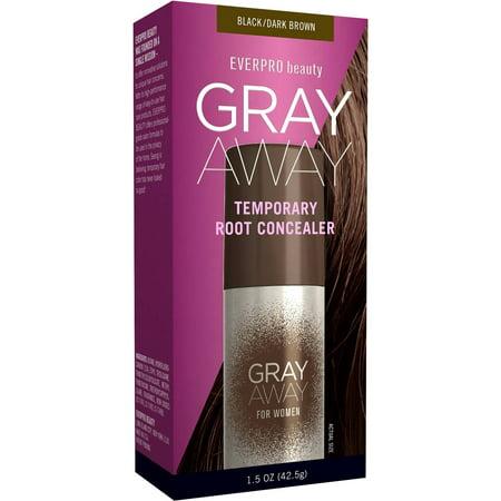 Everpro Beauty Gray Away for Men & Women Temporary Root Concealer, Black/Dark Brown, 1.5 oz](Halloween Black Hair Dye Temporary)