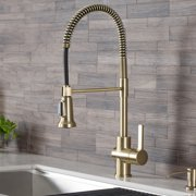 KRAUS Britt Single Handle Commercial Kitchen Faucet with Dual Function Sprayhead in Brushed Gold