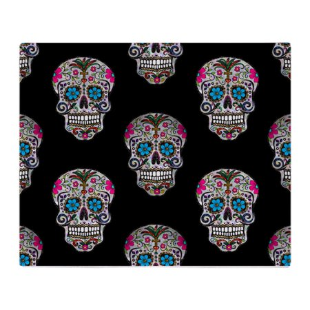 Fleece Picnic Stadium Blanket - CafePress - Sequin Sugar Skulls - Soft Fleece Throw Blanket, 50
