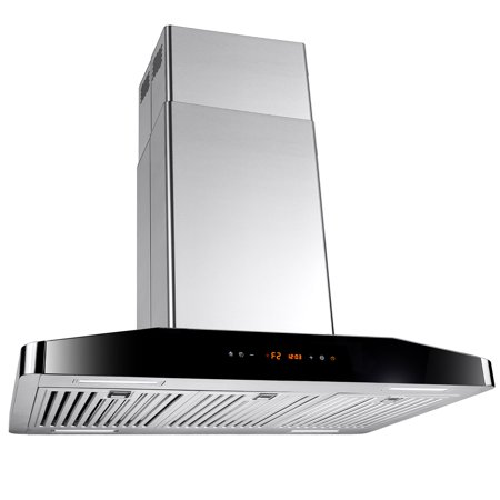 "Image of AKDY 30"" Stainless Steel Island Mount Range Hood Touch Screen Display with Timer and Clock"