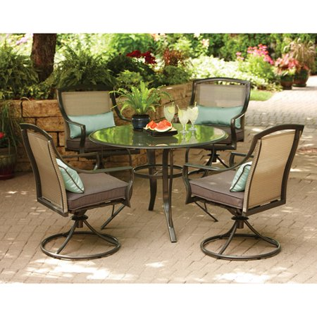 Aqua glass 5 piece patio dining room set seats 4 at for Outdoor dining room sets