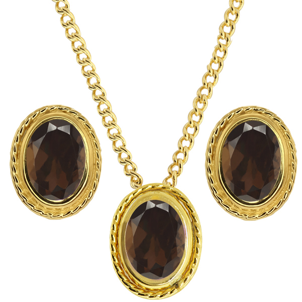 2.25 Ct Brown Smoky Quartz 925 Yellow Gold Plated Silver Pendant Earrings Set