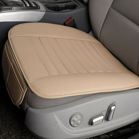 Breathable Car Interior Seat Cover Cushion Pad Mat for Auto Supplies Office Chair with PU Leather Bamboo Charcoal (Beige)