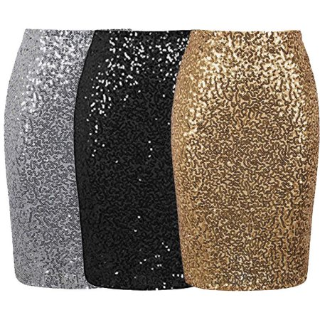 Women Slim Sexy Sequin Skirt Stretch Bodycon Sparkle Mini Skirt Party Long -
