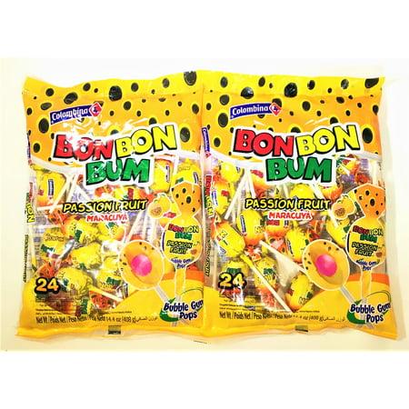 ddb4c7e82ea Colombina Bon Bon Bum Lollipops Passion Fruit 24 Lollipops per Bag 2 Pack -  Walmart.com