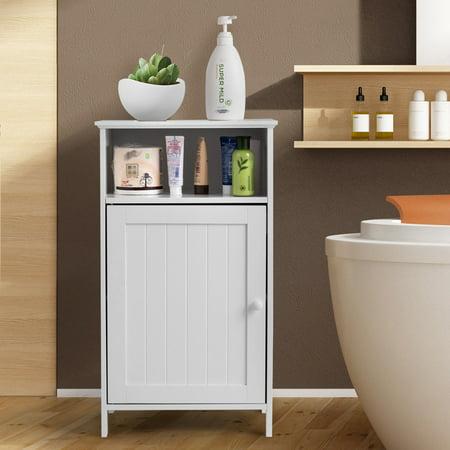 Gymax Bathroom Floor Storage Cabinet Side Table Adjustable Shelf Organize Freestanding ()