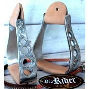 "Horse Western Saddle Stirrups Carved Aluminum 5-1/2"" Wide 2"" Leather Tread 51108"