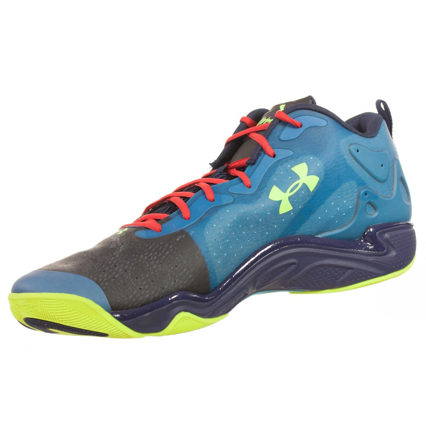Under Armour MENS ATHLETIC SHOES MICRO G SPAWN LOW 2 BLUE BLACK NAVY YELLOW 19 M