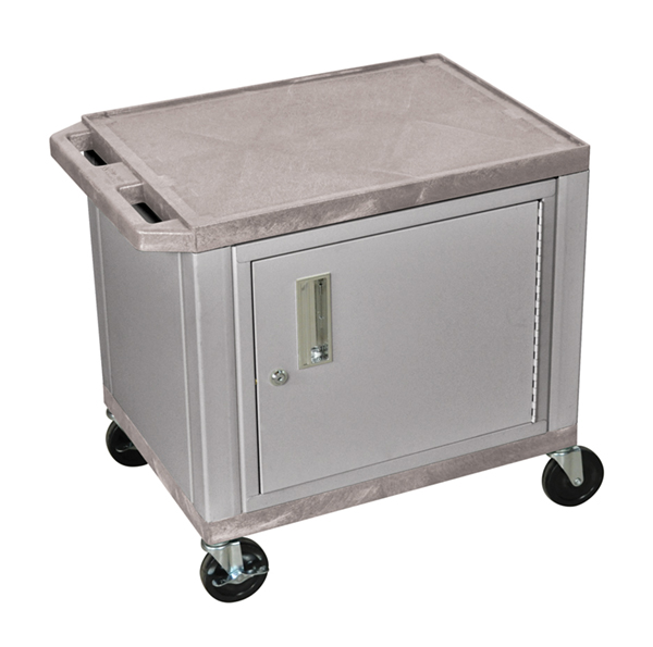 H WILSON WT26GYC4E-N 2-Shelf AV Cart with Cabinet, Tuffy, Gray