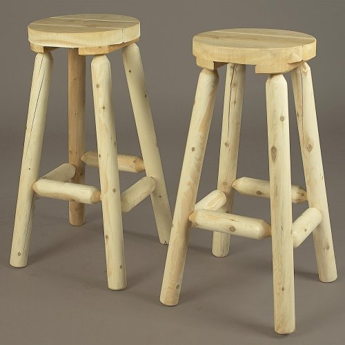 Rustic Natural Cedar Furniture Backless Bar Stools - Set of 2