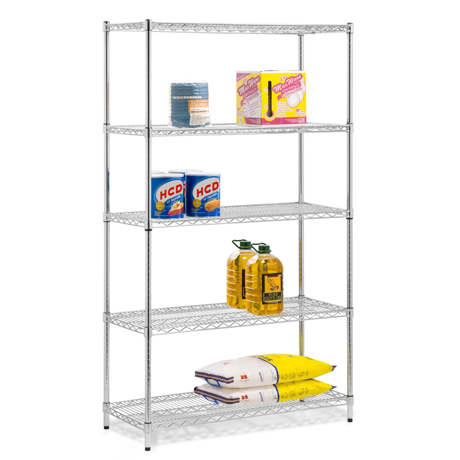Honey Can Do 5-Shelf Steel Storage Shelving Unit, Chrome