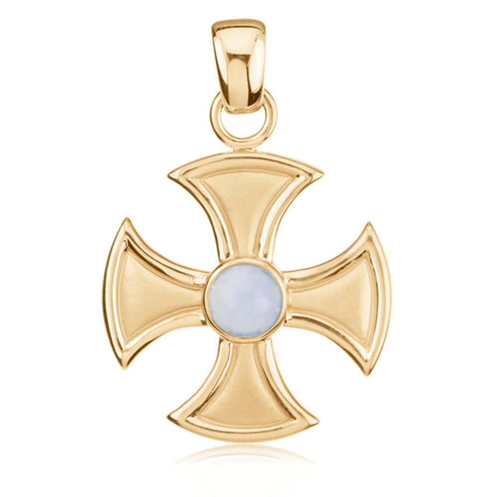 14 Karat Gold and Chalcedony Maltese Cross Pendant by Black Bow Jewelry Company