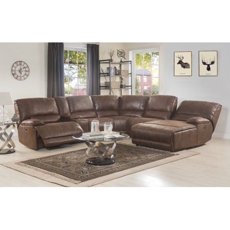 ACME Hibiscus Power Motion Sectional Sofa in Brown Polished Microfiber