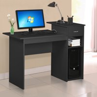 Compact Computer Desk with Drawers and 2 Tier Storage Shelves Furniture,Black