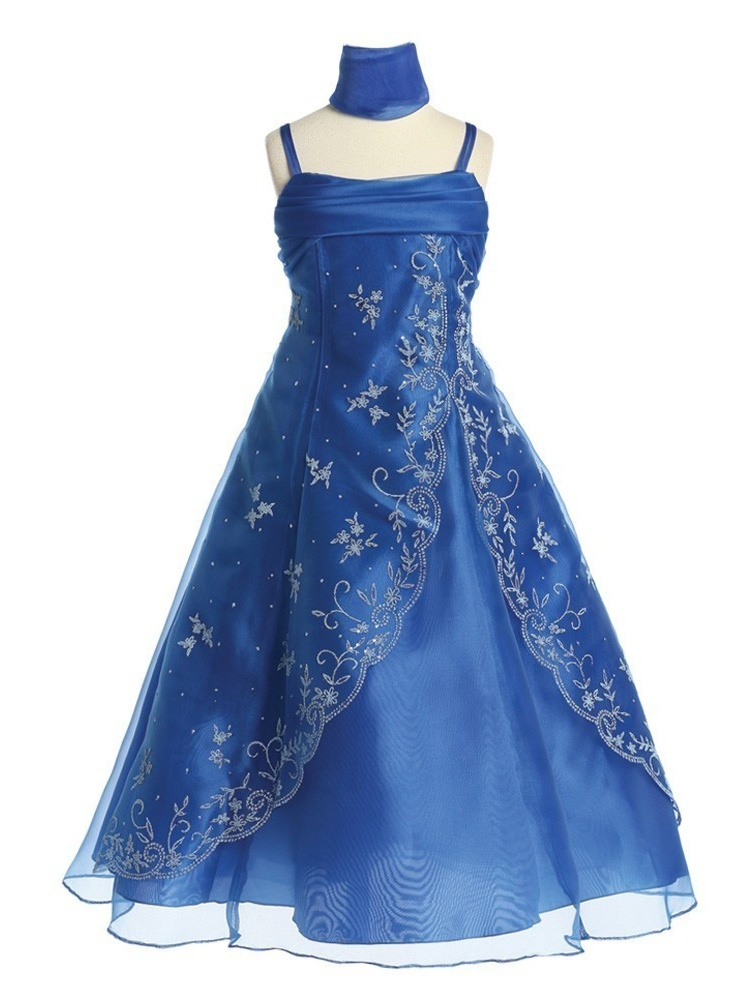 Chic Baby Girls Royal Blue Bead A-Line Pageant Junior Bridesmaid Dress
