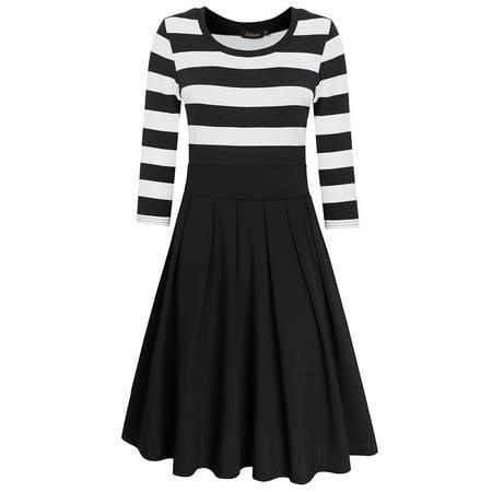 HiQueen Women Casual Scoop Neck 3/4 Sleeve A-Line Swing Dress Stripe Modest Dresses Color:Black Size:S