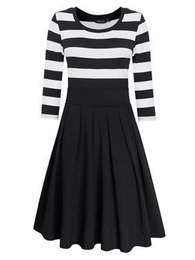 0d6eb11b5a24 Product Image Women Casual Striped Scoop Neck 3/4 Sleeve Tunic Swing Dress  Color:Black Size