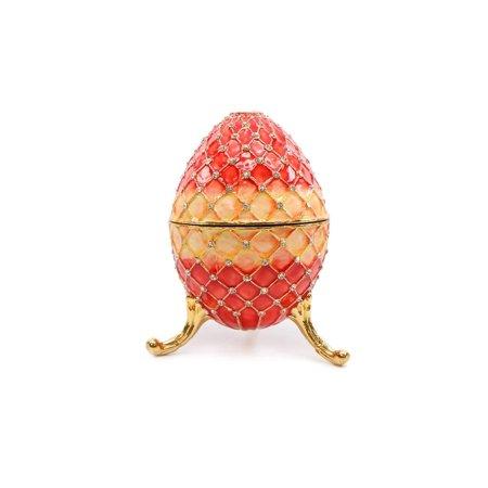 Trinket Jewelry Box with Swarovski, Decorative Faberge Egg Red 7 Inches …