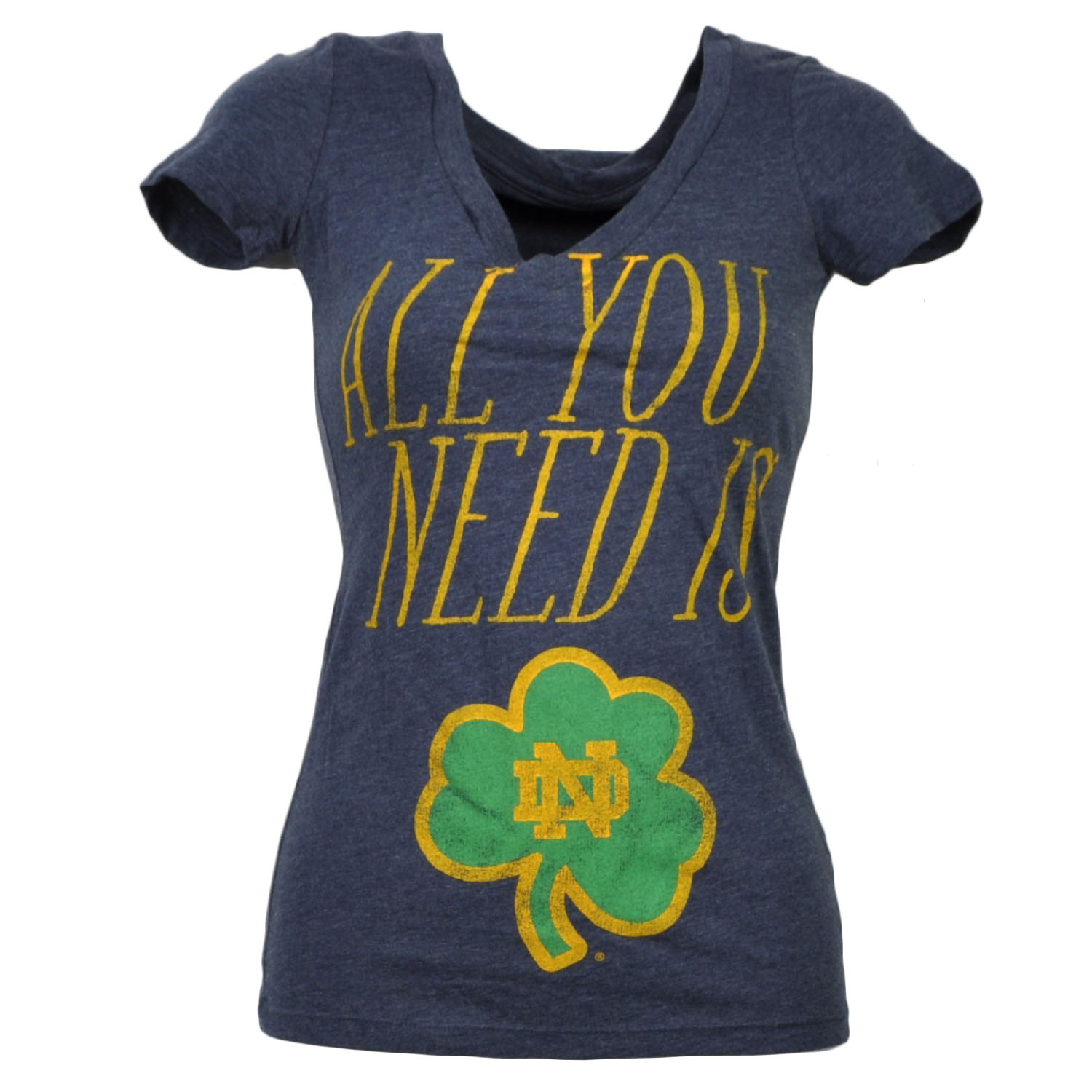 NCAA Notre Dame Fighting Irish All You Need Womens Tshirt Tee Blue V Neck XSmall