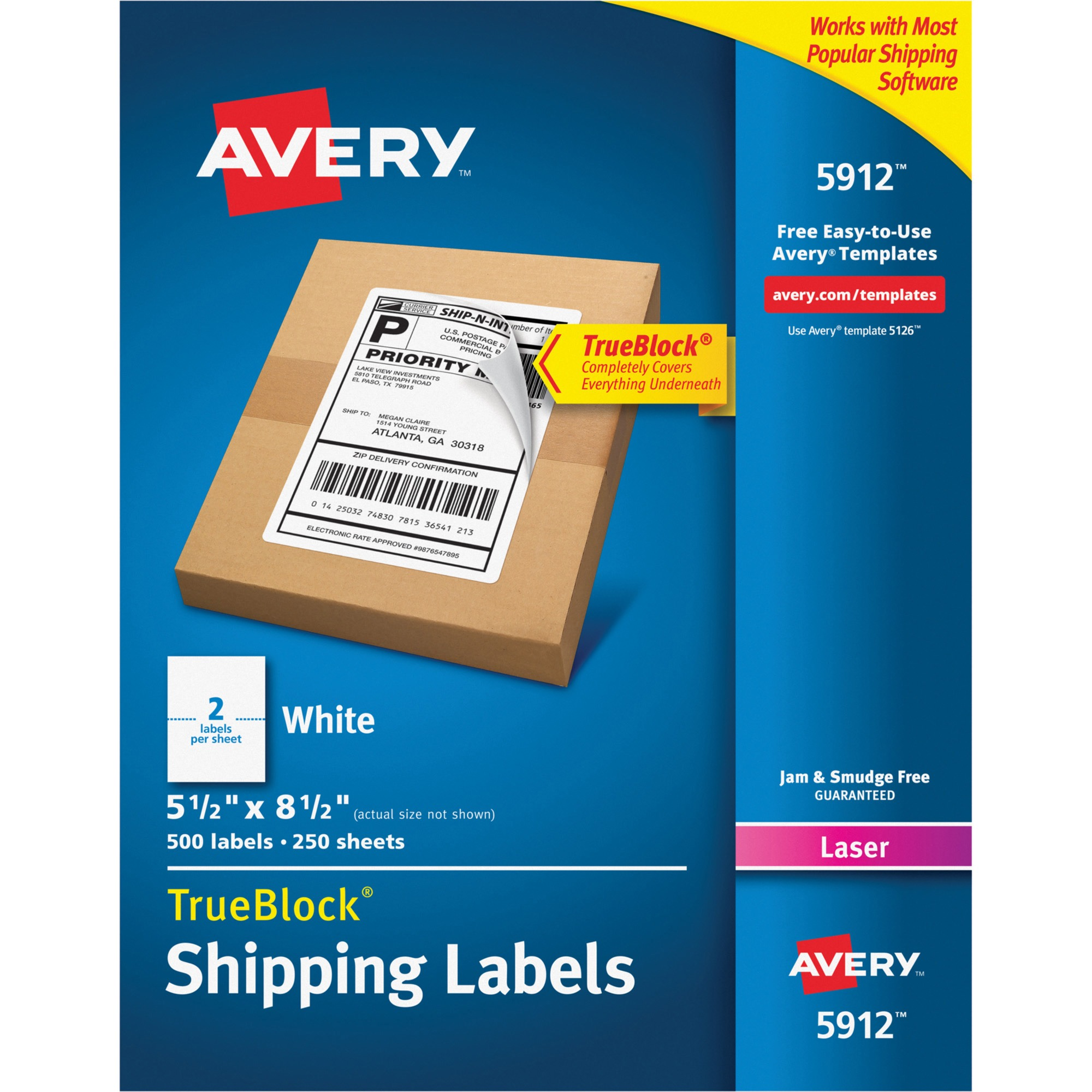 Avery Shipping Labels with TrueBlock Technology, Laser, 5 1/2 x 8 1/2, White, 500/Box