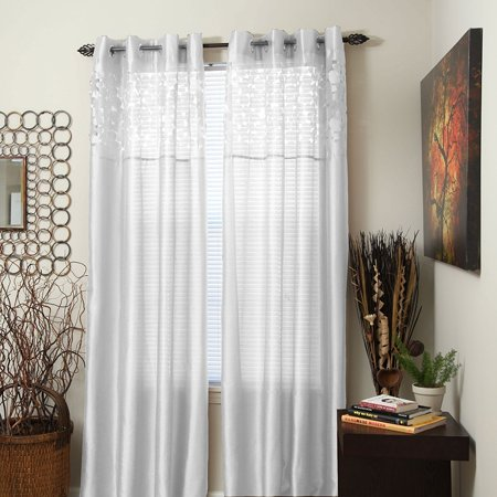 Karla Laser Cut Grommet Single Curtain Panel 108 Inch White Package