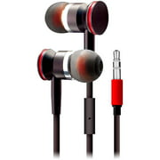 Sentry HA100 Deluxe Stereo Earbuds with Mic and Case, Black/Red
