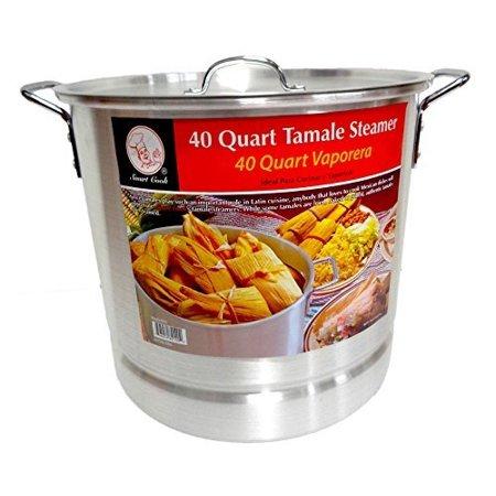 40 Qt Tamale Steamer Vaporera Stock pot Premium Aluminum 10 Gallons Fry Pan NEW ()
