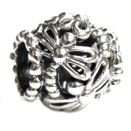 Queenberry Sterling Silver Dragonfly European style Bead Charm Fits Pandora](Dragonfly Charms)