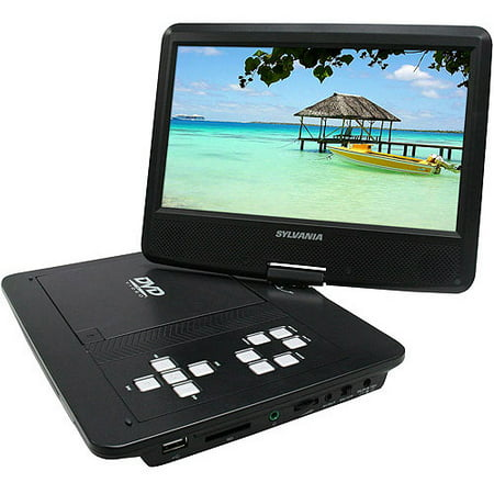 """Sylvania 10"""" Portable DVD Player with Swivel Screen and Built-in Extended Life Rechargeable Lithium Polymer Battery, SDVD1030"""