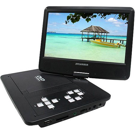 Sylvania 10  Portable Dvd Player With Swivel Screen And Built In Extended Life Rechargeable Lithium Polymer Battery  Sdvd1030