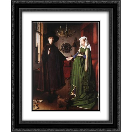 Jan van Eyck 2x Matted 20x24 Black Ornate Framed Art Print 'Portrait of Giovanni Arnolfini and his (Van Eyck Giovanni Arnolfini And His Bride)