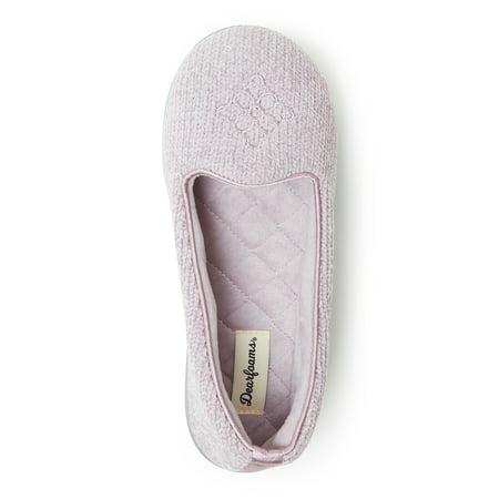 Dearfoams Chenille Closed Back Slippers with Memory Foam (Womens)