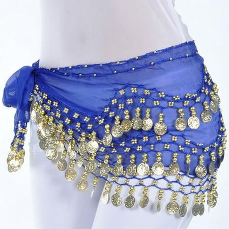 Tribal Belly Dance Dancing (Chiffon Belly Dance Hip Scarf Wrap Belt Tribal Sash Skirt Silver 128 Coins)