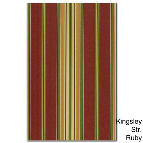 Blazing Needles 19-inch U-shaped Spun Poly Outdoor Chair/ Rocker Cushion Kingsley Stripe Ruby (REO-17)