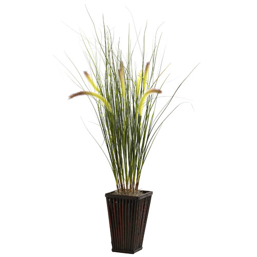 Nearly Natural Nearly Natural Grass Desk Top Plant in Planter