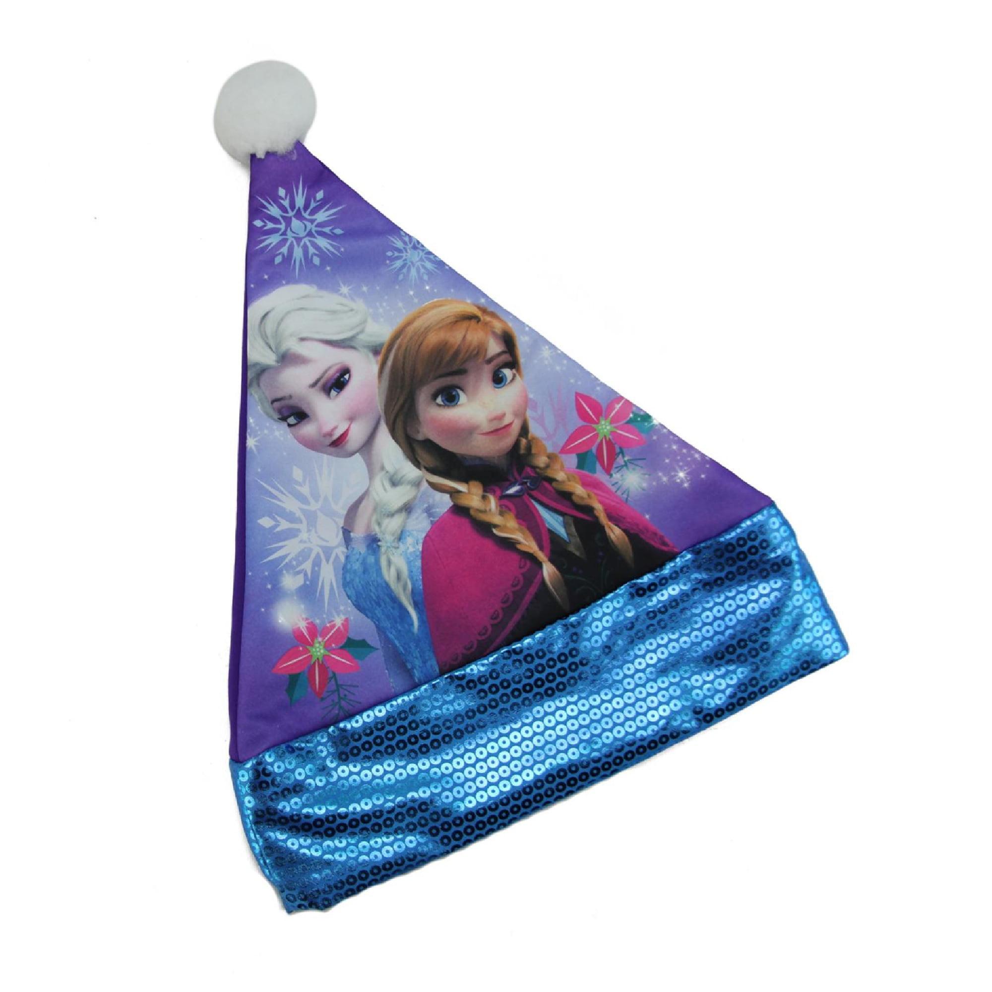 "15"" Disney Frozen Elsa and Anna Girl Children's Purple Santa Hat with Blue Sequin Trim"