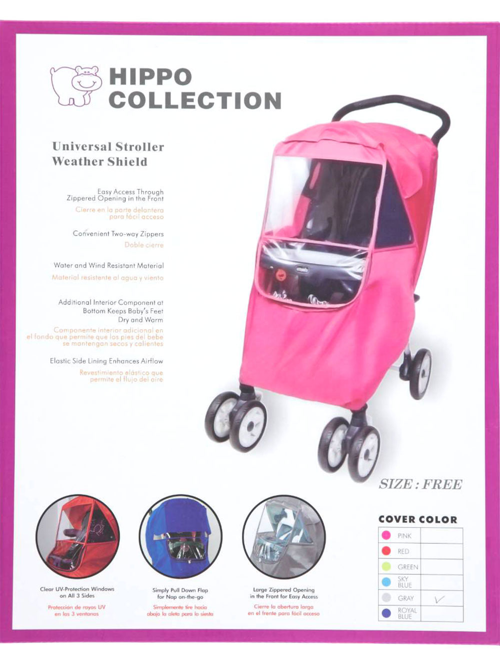 Hippo Collection Universal Stroller Weather Shield Rain Cover US Seller