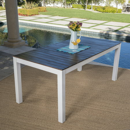 Beverly Outdoor Acacia Wood Dining Table With White Finished Legs, Dark Brown ()