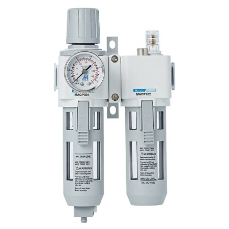 Compressed Air Filter Regulator Lubricator Combo Unit with Gauge 3/8 inch NPT Thread, Semi-auto Drain, Poly (Purpose Combo Filter Regulators)