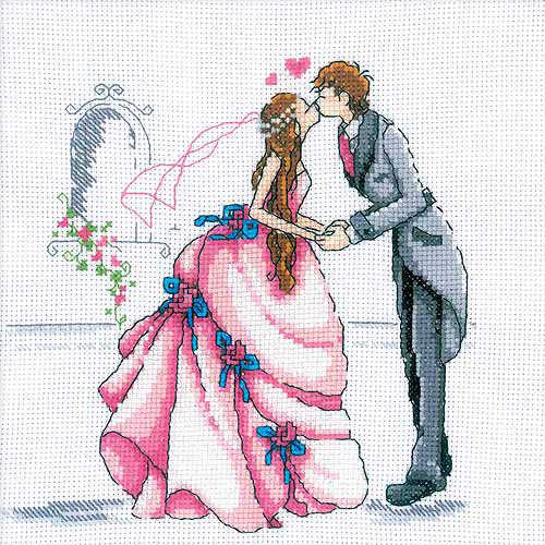 "RTO Bride And Groom Counted Cross-Stitch Kit, 8"" x 8"", 14 Count"