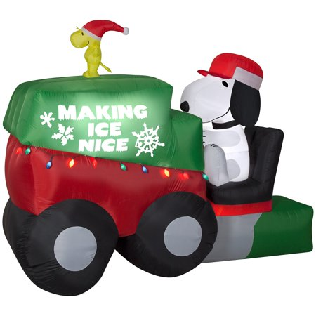 9.5' Wide Animated Airblown Snoopy on Ice Machine Giant Peanuts Christmas - Inflatable Snoopy