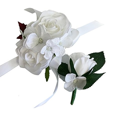 2pc Set of Wrist Corsage & Boutonniere -Rorse hydrangea-artificial flower (White)