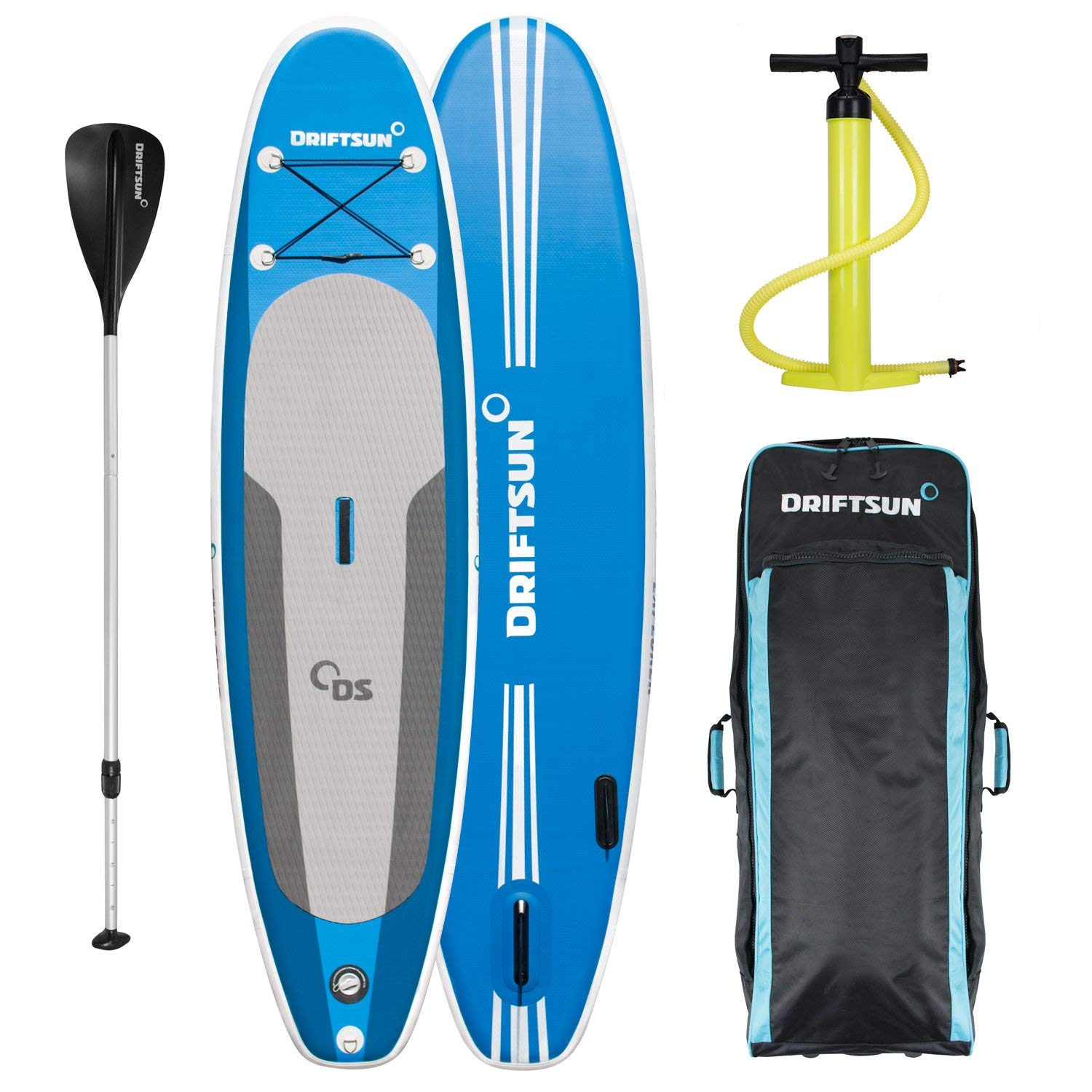 """Driftsun Explorer Ultimate Inflatable Paddleboard Package with Travel Backpack, Adjustable Paddle, Coil Leash - 10' Length 6"""" Inch Thick"""