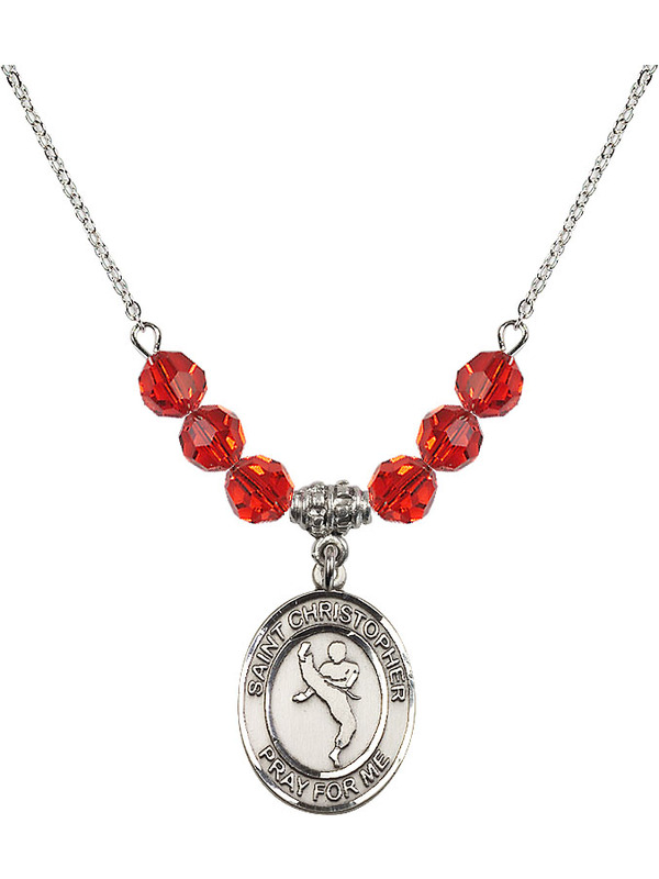 18-Inch Rhodium Plated Necklace with 6mm Ruby Birthstone Beads and Sterling Silver Saint Christopher//Martial Arts Charm.