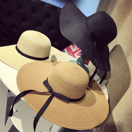 Straw Hats Cheap (Summer Fashion Foldable Sun Hats For Women Wide Large Brim Floppy Lady Straw)