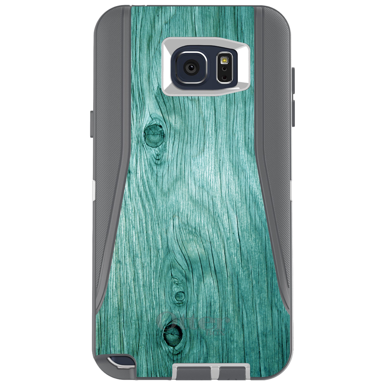 DistinctInk™ Custom Grey OtterBox Defender Series Case for Samsung Galaxy Note 5 - Teal Weathered Wood Grain Print